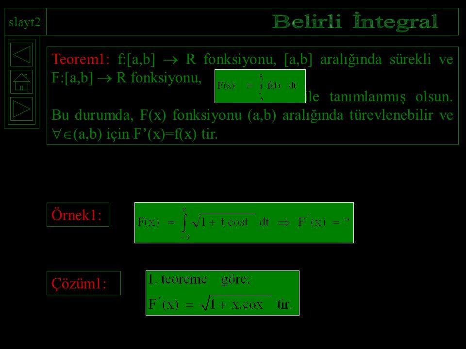 slayt2 Belirli İntegral. Teorem1: f:[a,b]  R fonksiyonu, [a,b] aralığında sürekli ve F:[a,b]  R fonksiyonu,